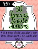 Free List of 50 Famous Female Authors