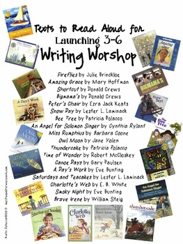 Free: List of Read Aloud Texts for Launching Grades 3-6 Writing Workshop