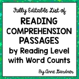 Free Listing of Reading Comprehension Passages by Guided Reading Level