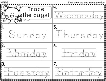 free literacy center days of the week write the room trace the room cat centers. Black Bedroom Furniture Sets. Home Design Ideas
