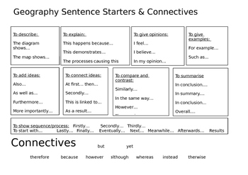 Free Literacy Mat. Sentence Starters and Connectives. Editable.