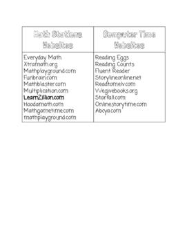 Free Literacy & Math website Lists