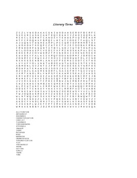 Free Literary Terms Word Search