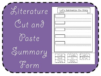 Free Literature Response Summary Form (Cut and Paste!)
