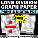 FREE Long Division Graph Paper, 4th 5th Grade Distance Learning Worksheet