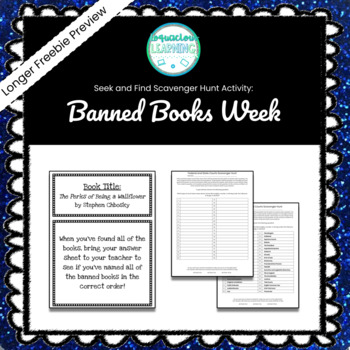 Free Long Preview Banned Books Week Seek & Find Scavenger Hunt Game ***Easy Prep