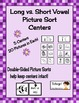 Free Long Vowel vs. Short Vowel Picture Sorting Center Sample Literacy Center