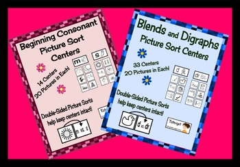 Picture Sorting Center Bundle  72 sets of Literacy Centers/ RTI Interventions