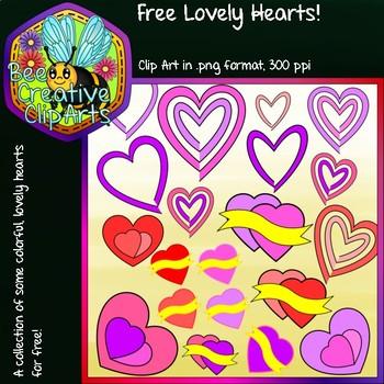 Free Lovely Hearts - Bee Creative Clip Arts - 2018 Freebie