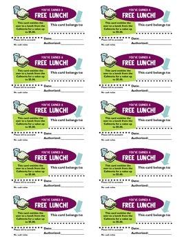 Free Lunch Reward Cards
