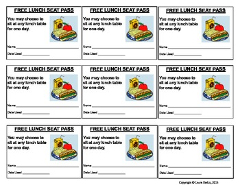 Free Reward Coupon-  Lunch Seat Pass- Use as Prize/Incentive