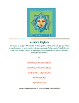 Free Lyric Sheet - Assalam Aleykum (A Song Introducing The