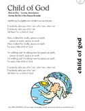 Free Lyric Sheet - Child Of God (Peace Songs For Kids)