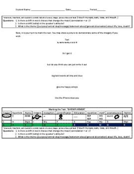 Free Marking the Text Bookmark Included! Close Reading Worksheets w/ Answer Key