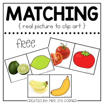 Free Matching Picture Cards [ Real Pictures to Clip Art ]
