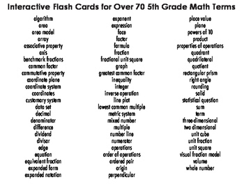 free math activity 5th grade math vocabulary flash cards tpt. Black Bedroom Furniture Sets. Home Design Ideas