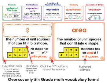 Free Math Activity - 5th Grade Math Vocabulary Flash Cards