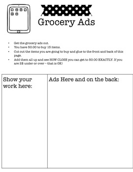Free Math Activity for 3rd - 4th - 5th  Grade - Shopping with Grocery Ads