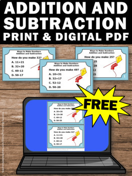 FREE 2 Digit Addition and Subtraction Task Cards, 2nd Grade Math Review Games