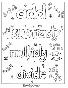 Free Math Bookmarks to Color