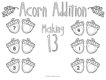 Free Math Center: Acorn Addition Numbers 11-20