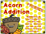 Free Math Center: Acorn Addition- Numbers 5-10