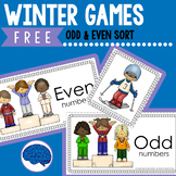 Free Math Center: Even or Odd Sort - Winter Skiing Theme
