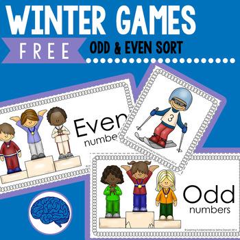 Free Math Center: Even or Odd Sort - Winter Skiing Theme