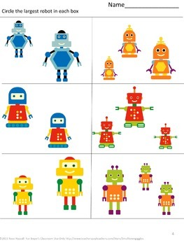Free Math Fun With Robots Sampler Preschool, Kindergarten, Autism