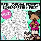 Math Journal Prompts for Kindergarten and First Grade FREE