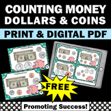 FREE Counting Money Task Cards, Counting Coins & Dollars,