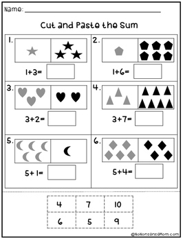 Free Math Practice Worksheets (cut and paste)