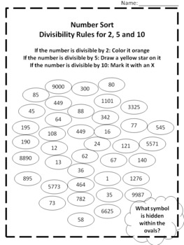 Math Printable: Divisibility Rules for 2, 5 and 10 Number Sort ...