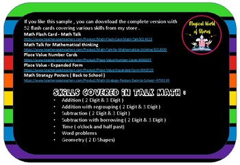 Free Math Talk - Task Cards