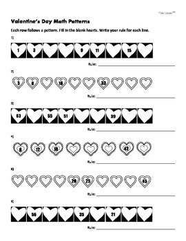 Free Math Worksheet for Valentine's Day - Number Patterns