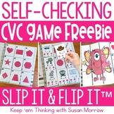 CVC, Medial Vowel Sounds FREE Self Checking Game - Slip It