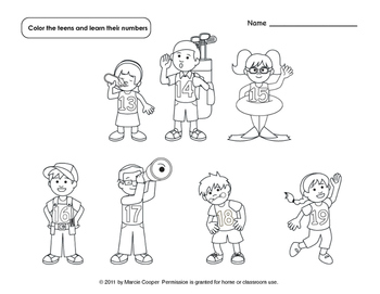 Free Meet the Teens Number Tracing and Coloring Pages