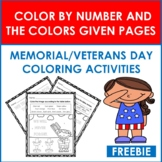 Free Memorial/Veterans Day: Color By Number and By The Col