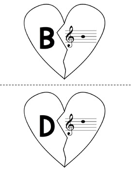 Free Mend My Broken Heart Game {Notes in the Treble Clef Staff}