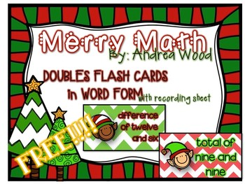 Free Merry Math :Word Form Flash Cards - Doubles
