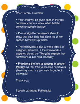 Free Mini Speech Articulation Homework Packet