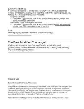 Free Modifiers Worksheet