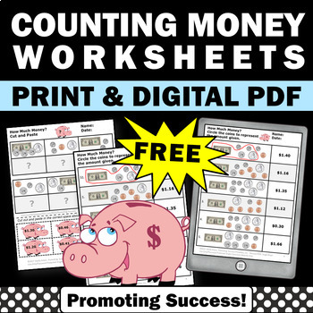Free Money Counting Worksheets, Money Math Centers 2nd or 3rd Grade Review