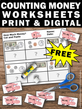 Free Counting Money Worksheets, Cut and Paste Math Activities