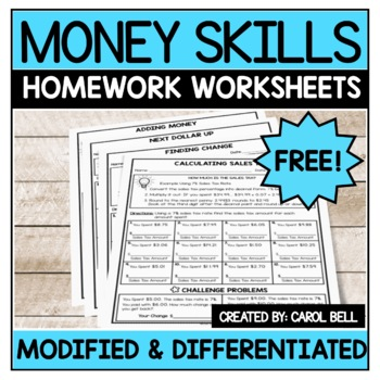 Free Money Worksheets Addition Subtraction Sales Tax and Next Dollar Up