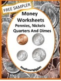Free Money Worksheets Identifying Coins Value Special Education Math Life Skills