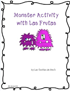 Free Monster Activity with Las Frutas (fruits in Spanish)