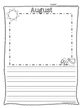 FREE Monthly Writing Papers ~ August and September  {Collection 1}