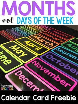 Free Months and Days of the Week Calendar Cards