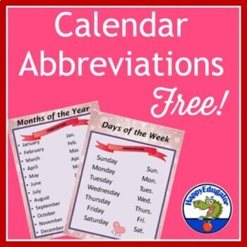 Free Months of the Year and Days of the Week Abbreviations